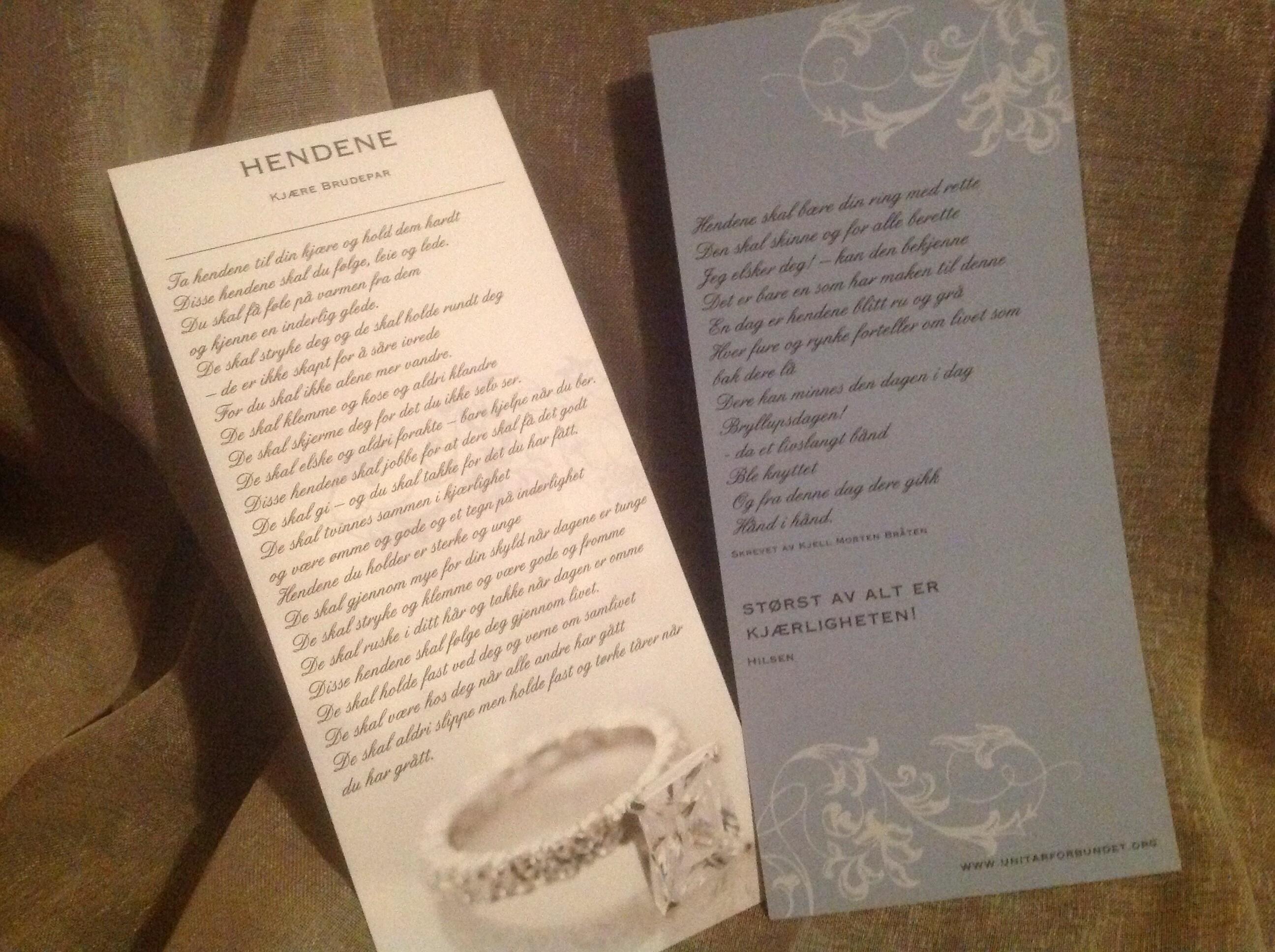 morsomme dikt til brudeparet
